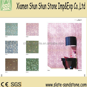 Cheap Whosale glass pattern pink color mosaic wall tiles