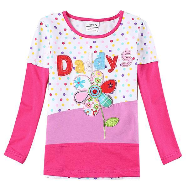NOVA brand print flowers Autumn tops minion floral cotton baby girl t-shirts long sleeve o-neck tees 2-6y kids t shirts girls