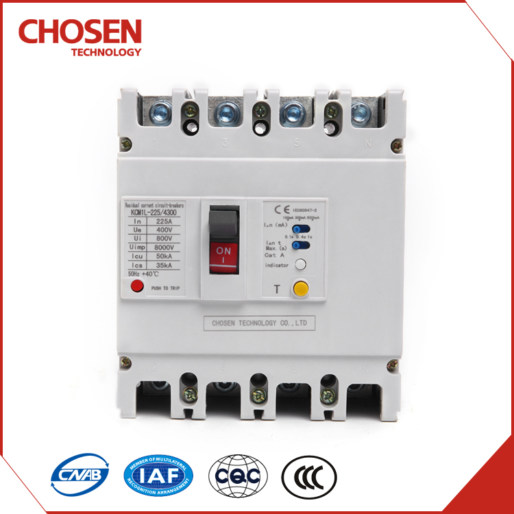 yueqing 100a 175a 225a 4 pole earth leakage circuit breaker