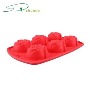 Wholesale six hole cookie mould bakeware rose silicone Baking cake mold for cake decorating supplies