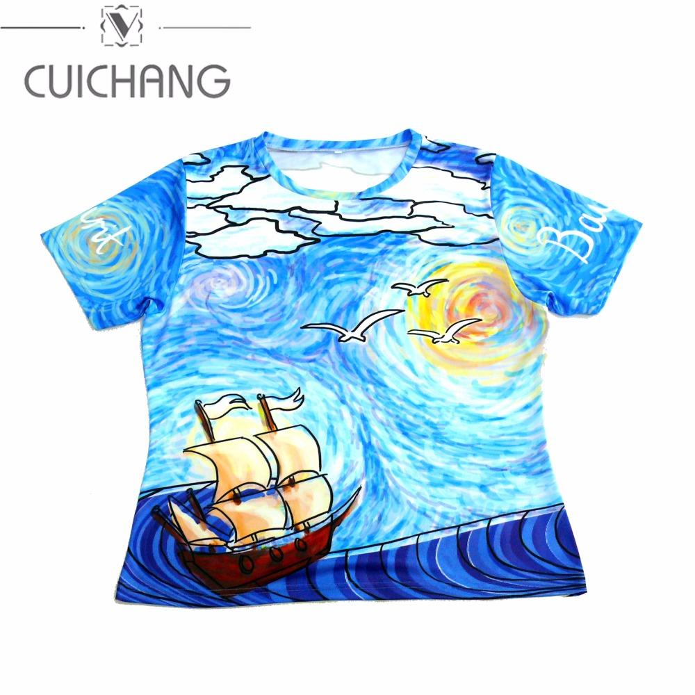 New Design Custom Sublimation Cartoon Pattern Full Printing T Shirt