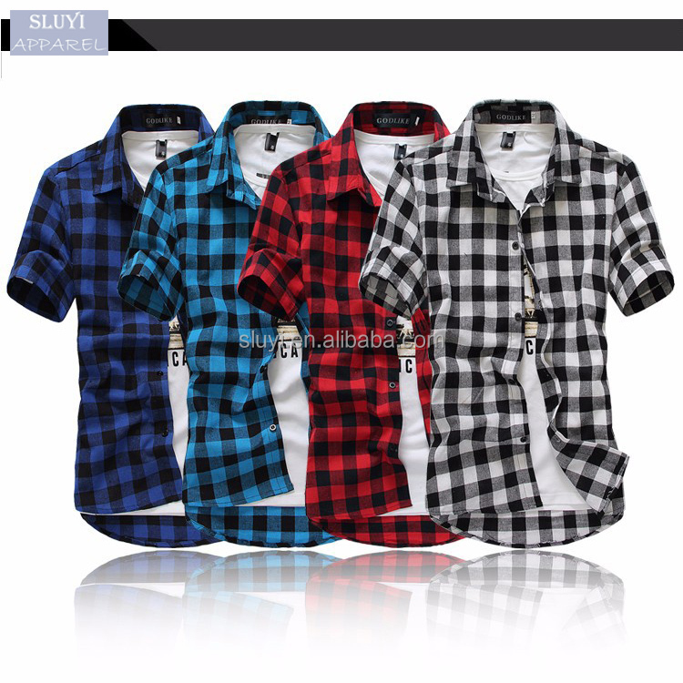Fashion Chemise Homme red white and black plaid shirt Short Sleeve wholesale mens dress shirts
