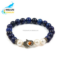 Custom palm charms evil eye natural stone pearl bead bracelet
