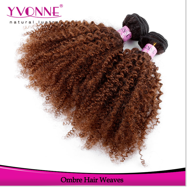 Yvonne ombre color two tones afro kinky curly ombre human hair extensions