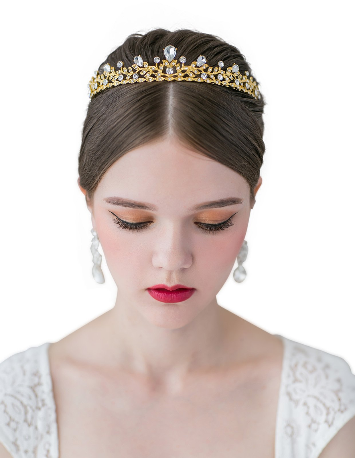 SWEETV Sparkly Crystal Crown Princess Tiara Rhinestone Leaf Pageant Wedding Hair Jewelry, Gold