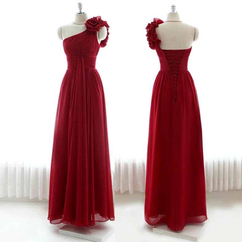 2015 fashion red sexy one shoulder flowers lace up long plus size A-line dress Prom Dresses,1867,y,ty,hd