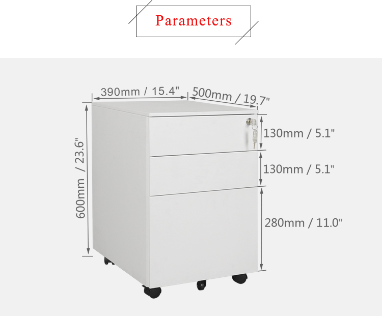 Poppin White + Light Gray Stow Rolling 3-Drawer File Cabinet, Available in 10 Colors, Legal/Letter
