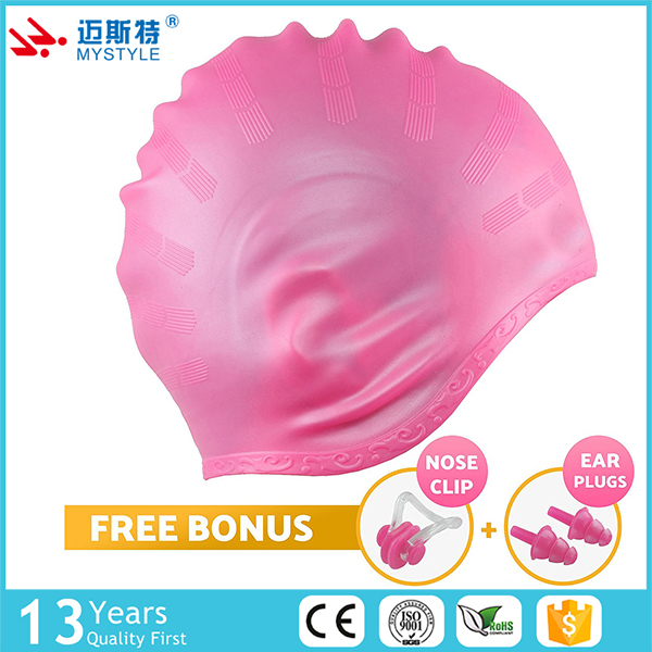 customed Silicone ear protection swim cap with multi colour for Adult Jonior