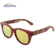 Whole wooden frame old school style polarized lens fashion sunglasses