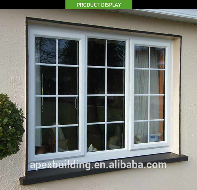 White color latest window designs with window grill design for Exterior window grill design