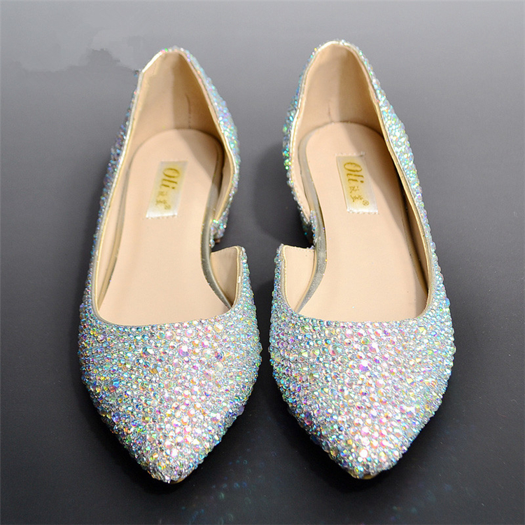 2015 new wedding shoes fashion silver crystal dress shoes ...