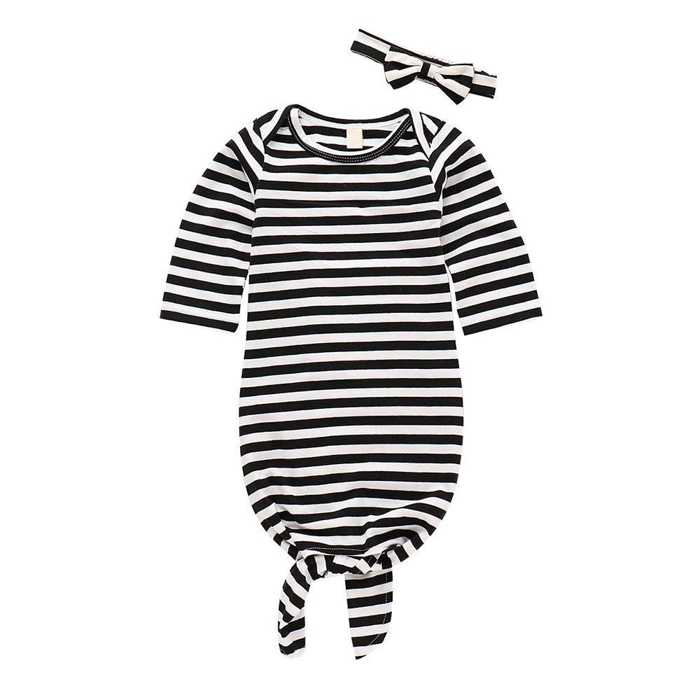 62d788183 Get Quotations · Winsummer Newborn Gown Knotted Infant Nightgown Sleepers  Romper Headband Comfortable Striped Long Sleeve Sleeping Wrap Sacks