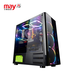 Ningmei Cheap AMD R5 2600/GTX1050Ti LED Fans Cooling Gaming Desktop Computer