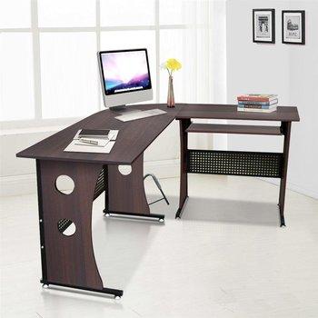Dark Brown Corner Desk L Shaped Computer Workstation With Sliding