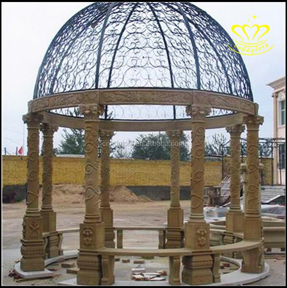 garden decor White Marble Round Metal iron Top gazebo Pavilion
