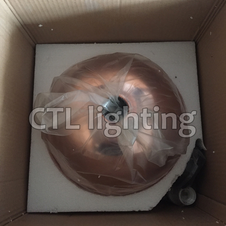 Factory wholesale 2020 restaurant decorative copper glass hanging lamps modern zhongshan round hand blown glass pendant light