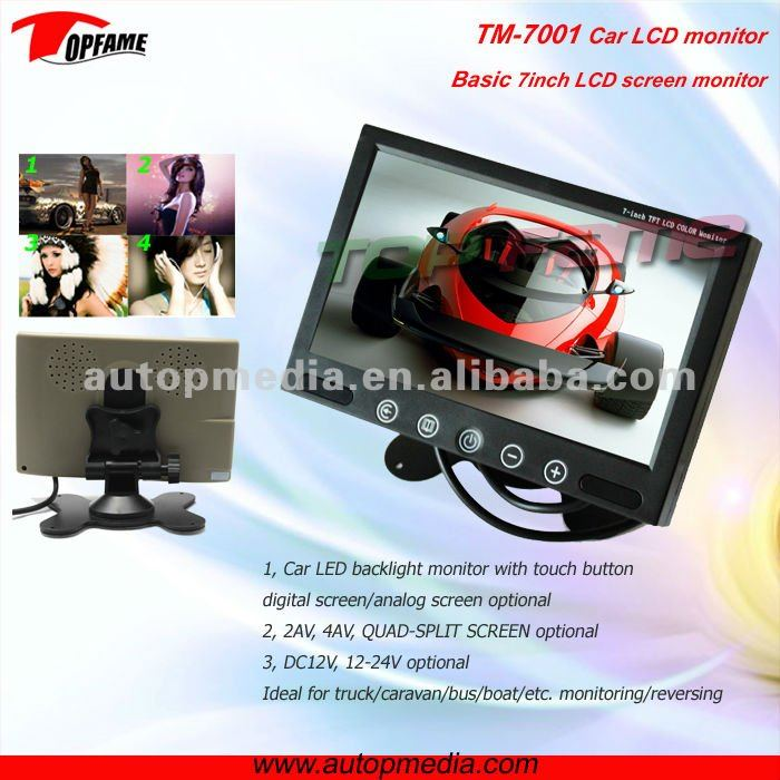 TM-7001 7inch car lcd headrest Stand alone rerersing monitor with touch button