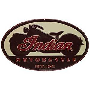 Yours Dec Metal Tin Sign Indian Motorcycle Oval Embossed Tin Sign