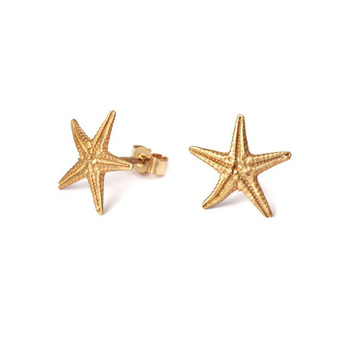 2017 Simple Gold Starfish Stud Earrings Designs For Women