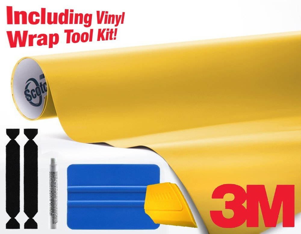 3M 1080 Matte Yellow Air-Release Vinyl Wrap Roll Including Toolkit (15ft x 5ft)