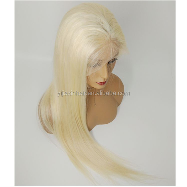 High quality 150% density silky straight long blonde 613 brazilian human hair lace front wig
