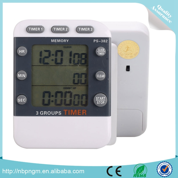 Max Timing Duration 100min Magnetic 3 Group Timer with Clock Function,Cooking Timer Clock
