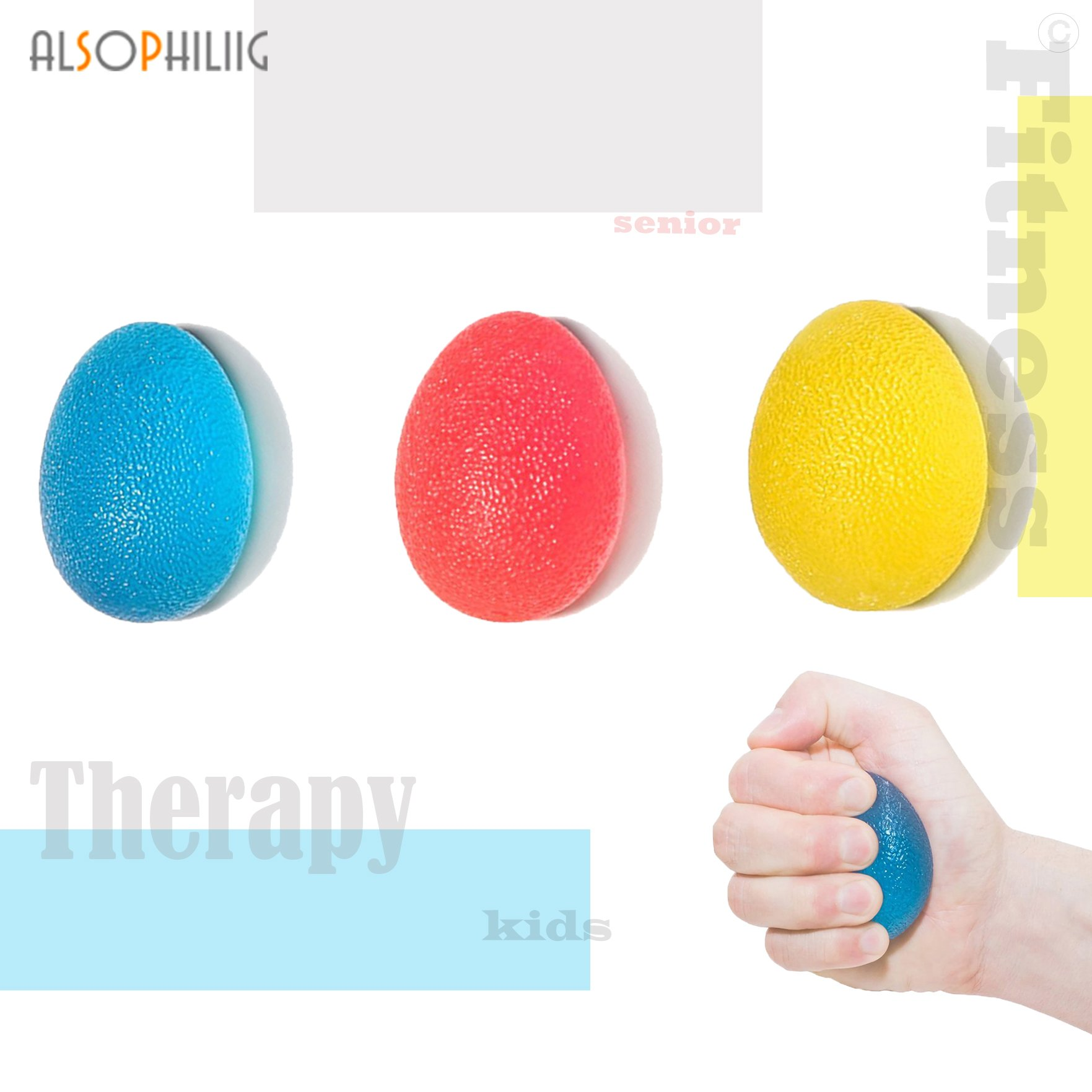 alsophiliig Stress Relief Hand Exercise Ball Kit Hand Grip Balls Squeeze Exerciser 3 Resistance for Hand Strength Stress and Pain Relief 3 Pack
