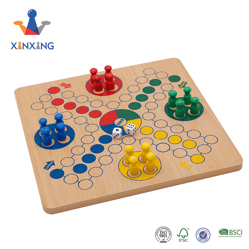 wooden design ludo board game pachisi set with 4 color pieces