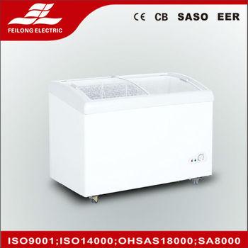 Curve Glass Door 239l Top Open Chest Freezer Ce Cb Rohs