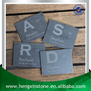 Wholesale Handmade Cut Edge 12*9*0.5cm Rectangle Black Slate Coaster With Laser Design(Customized ) Tea & Coffee Requirements