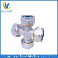 Pex brass four way tee pipe fitting