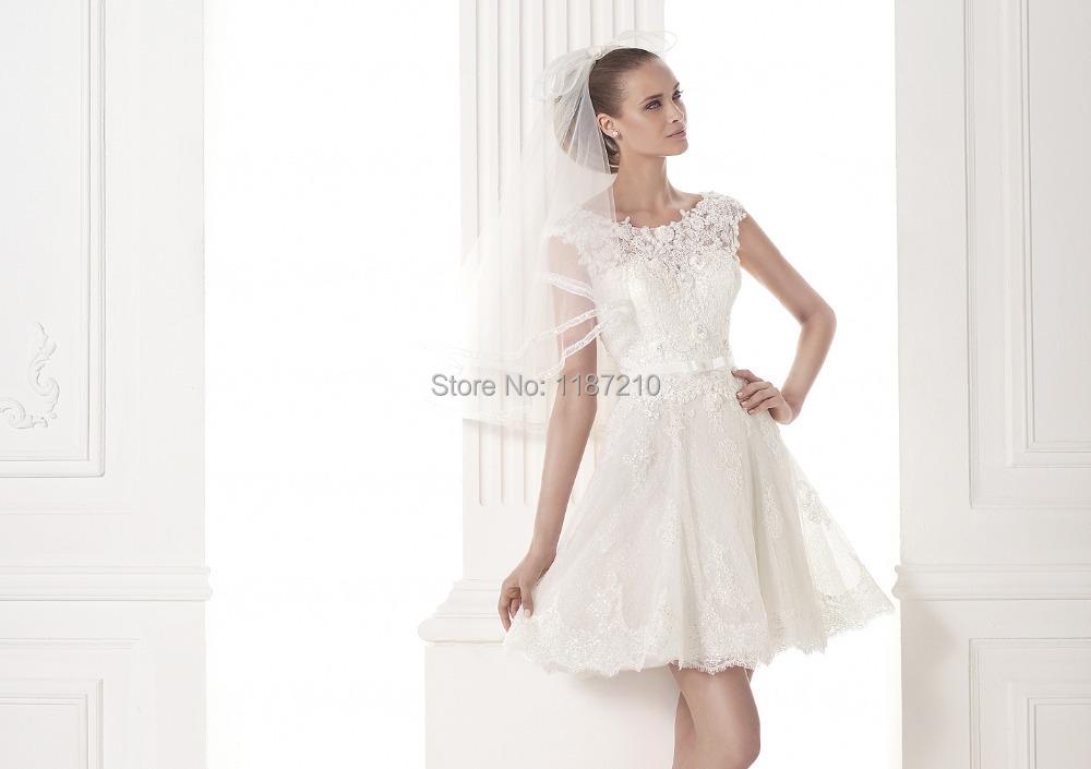 Buy a line white charming cap sleeve short mini tea length