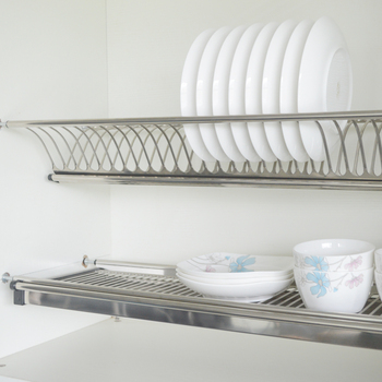 Kitchen Dish Rack 2 Tiers Wall Mounted Stainless Steel Drying Hardware