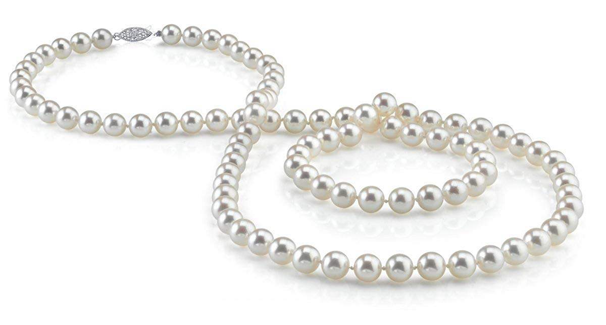 "14K Gold 6.5-7.0mm Japanese Akoya Saltwater White Cultured Pearl Necklace - AA+ Quality, 36"" Opera Length"