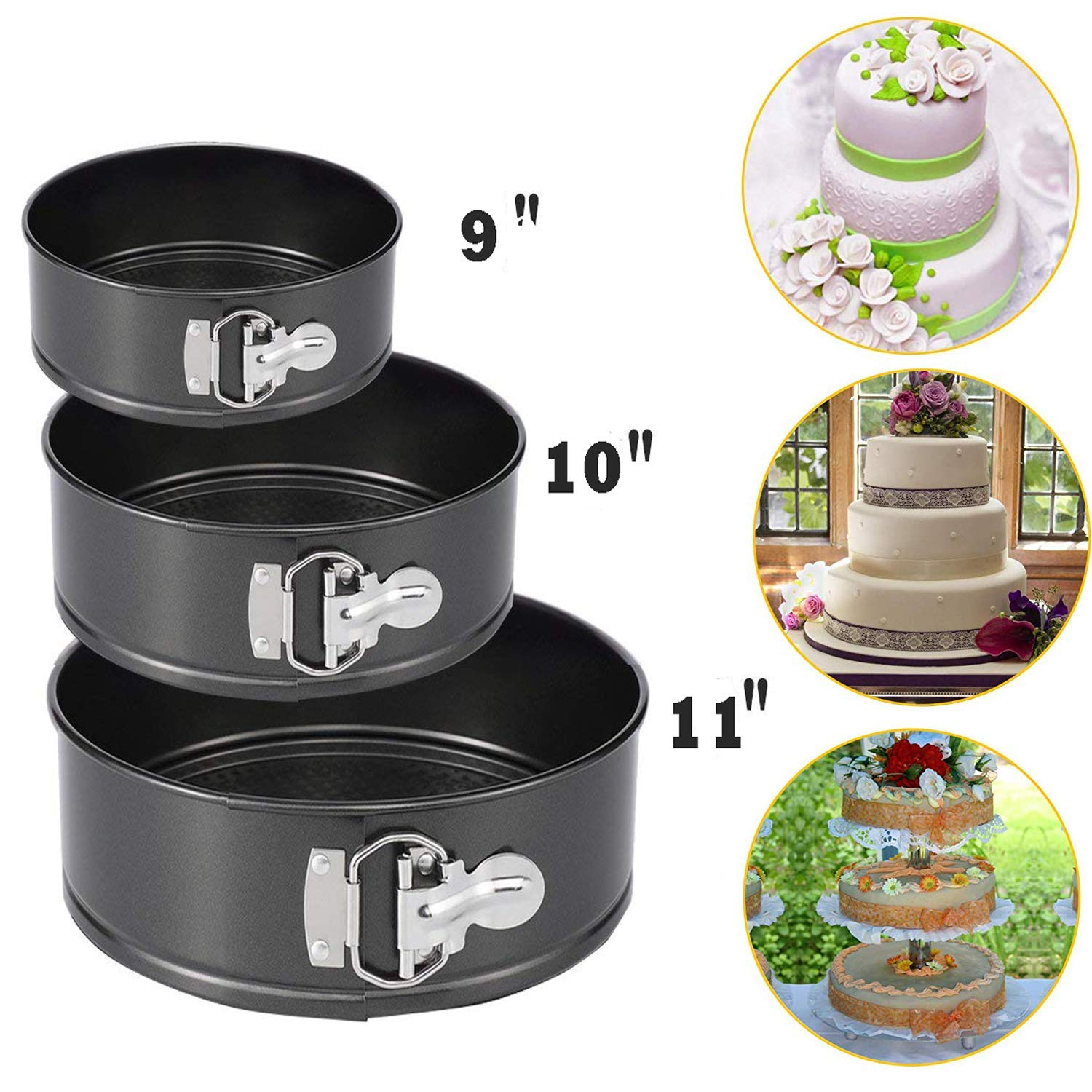"""Springform Pan Set Cake Mold Set, Nonstick Leakproof 3pcs (9""""/10""""/11"""") Cake Pan Bakeware Cheesecake for Party, Home Gathering, Kitchen, Feast and Holidays"""