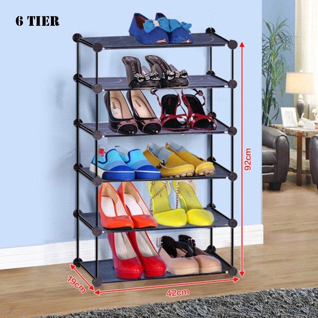 Black Stackable Shoe Storage Rack For Door Bathroom Hallway 4 To 8 Tier Foldable Plastic Shoe Box Organizer (Size : 6 tier)