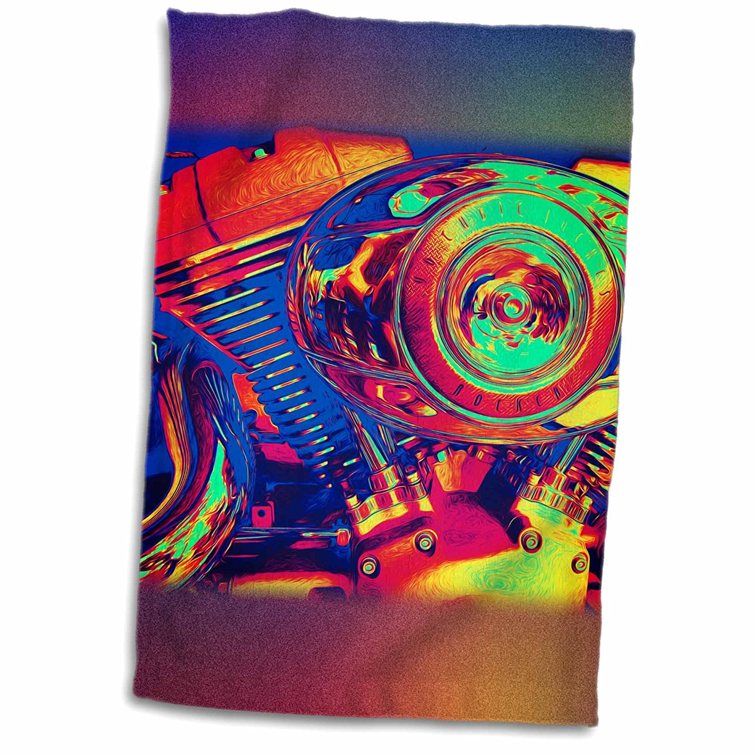 3dRose Phil Perkins - Graphic Design - Colorful Motorcycle Engine - artistic photo engine of a motorcycle - 12x18 Towel (twl_243428_1)
