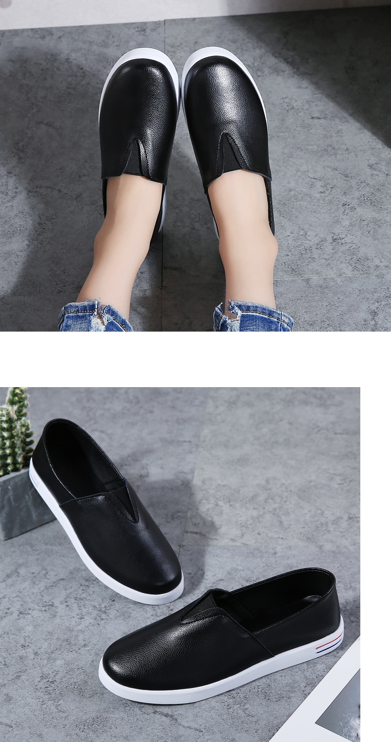 Genuine leather white shoes comfortable soft bottom casual women shoes