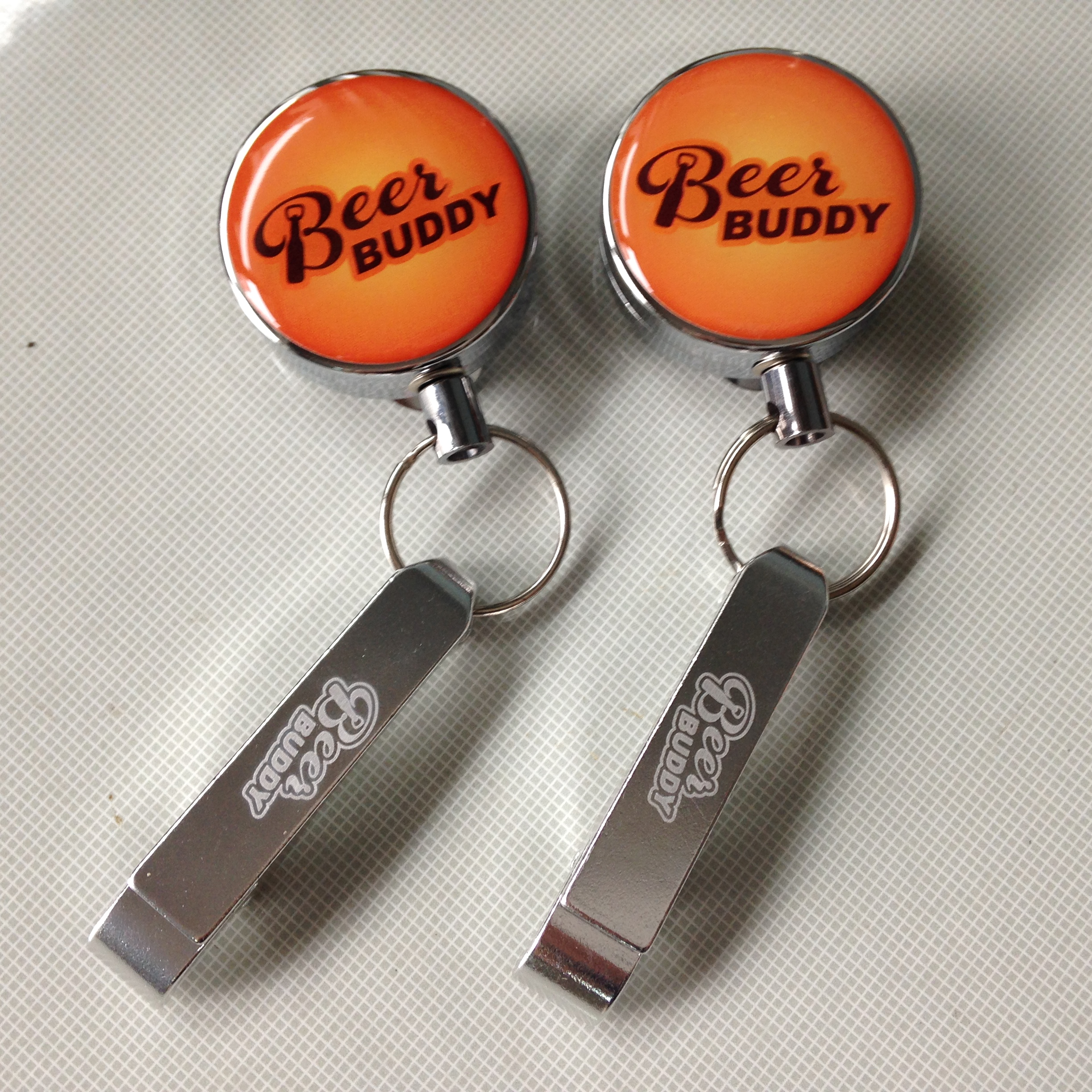Metal Heavy duty Retractable key chain bottle opener custom logo available