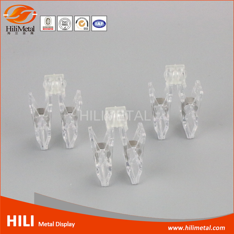 Wobbler holder plastic clear pop clips for supermarket shelf