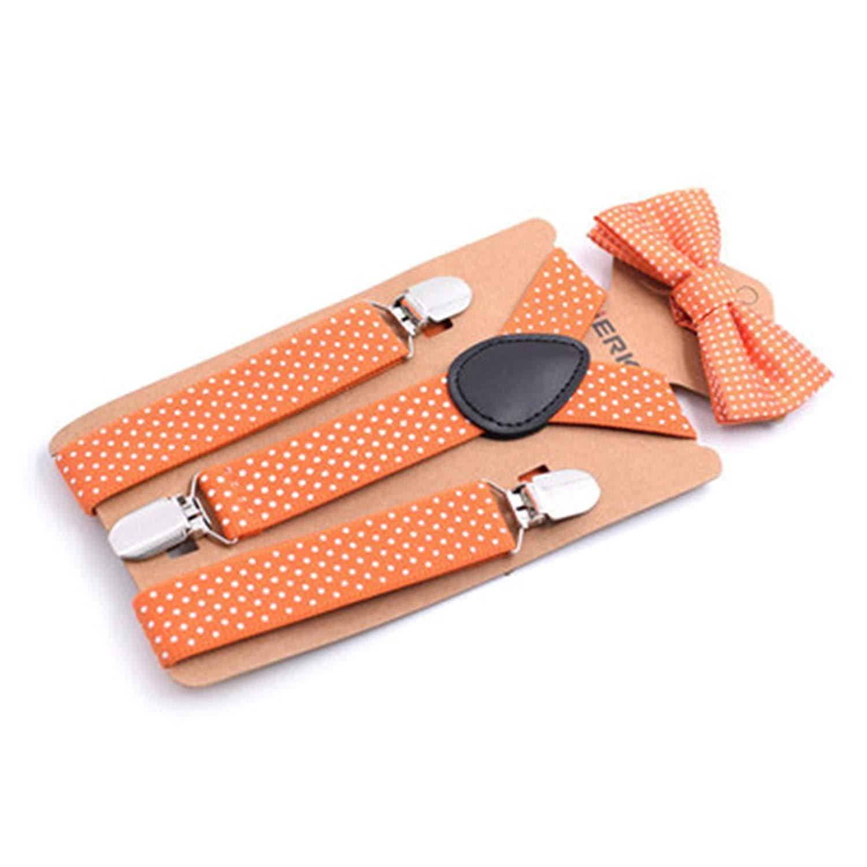 Baby Boys Suspenders Kids Elastic Adjustable Suspenders With Bowtie Set Children Orange