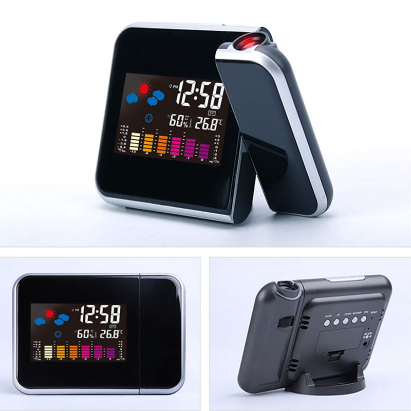 Multifunction Modern Smart LED Desktop Laser Projection Digital Alarm Clock  with Projector Temperature Display