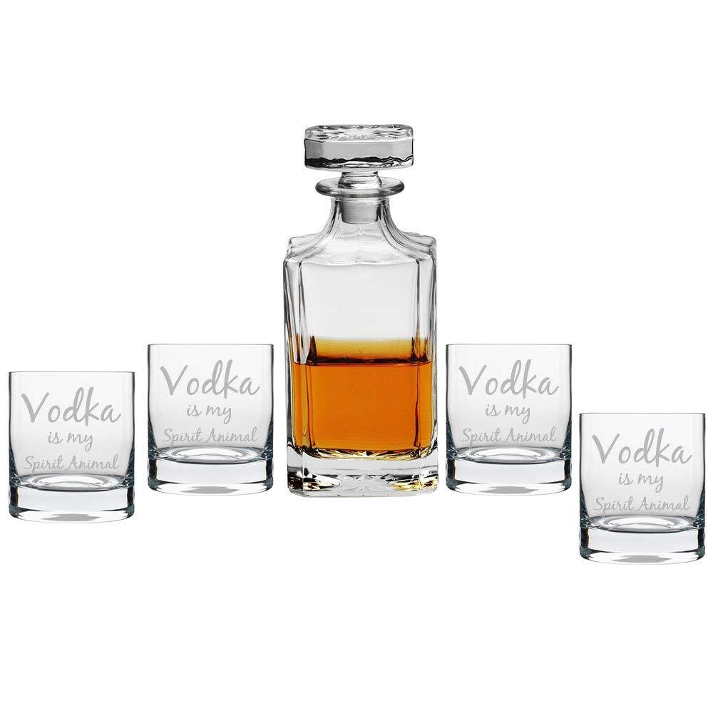 Vodka is My Spirit Animal Decanter with Engraved Rocks Glasses, Set of 5