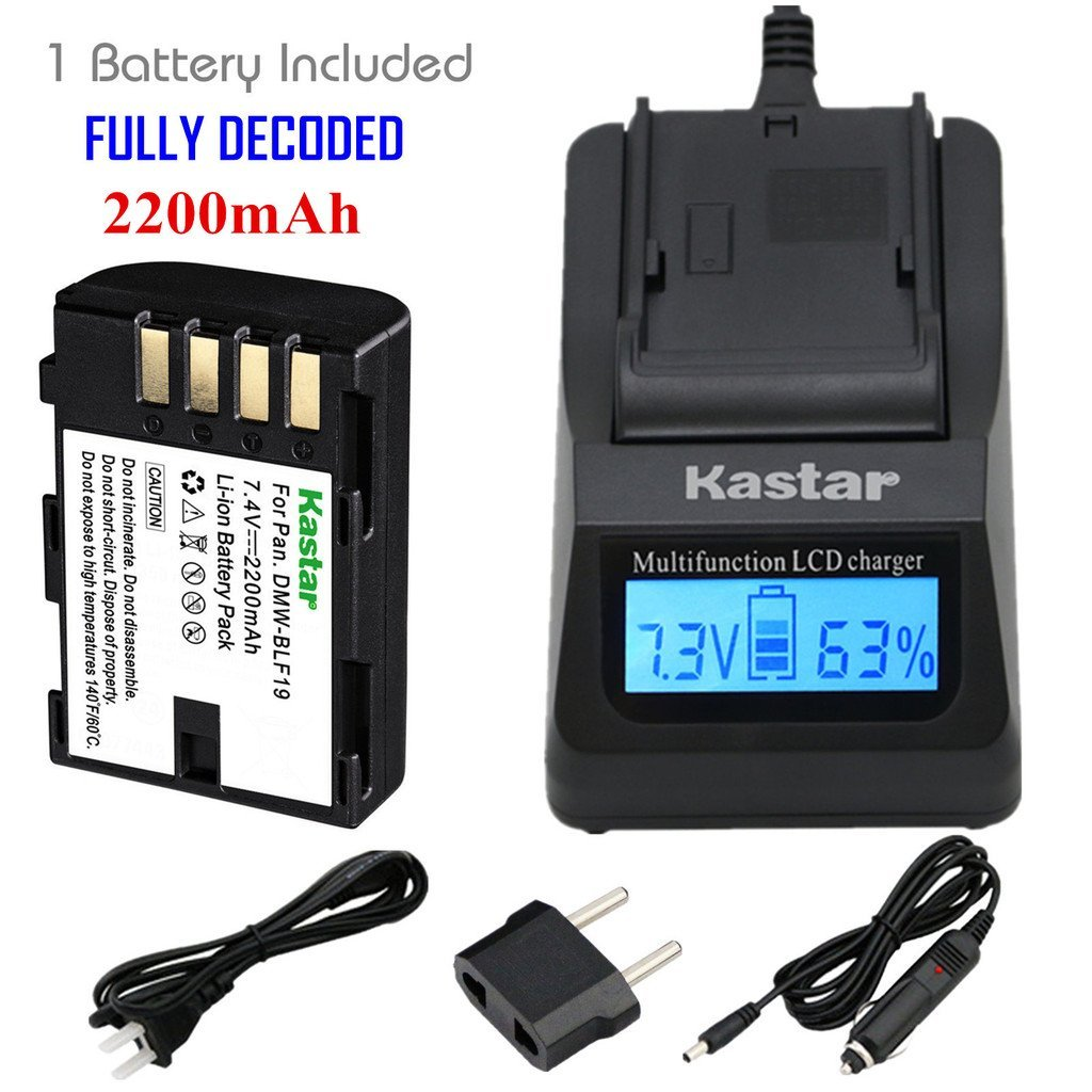 Kastar Ultra Fast Charger Kit and Battery (1-Pack)for Panasonic DMW-BLF19 and Panasonic Lumix DMC-GH3 Lumix DMC-GH3A Lumix DMC-GH3AGK Lumix DMC-GH3GK Lumix DMC-GH3H Lumix DMC-GH3HGK Lumix DMC-GH3KBODY Lumix DMC-GH4H Lumix DMC-GH4
