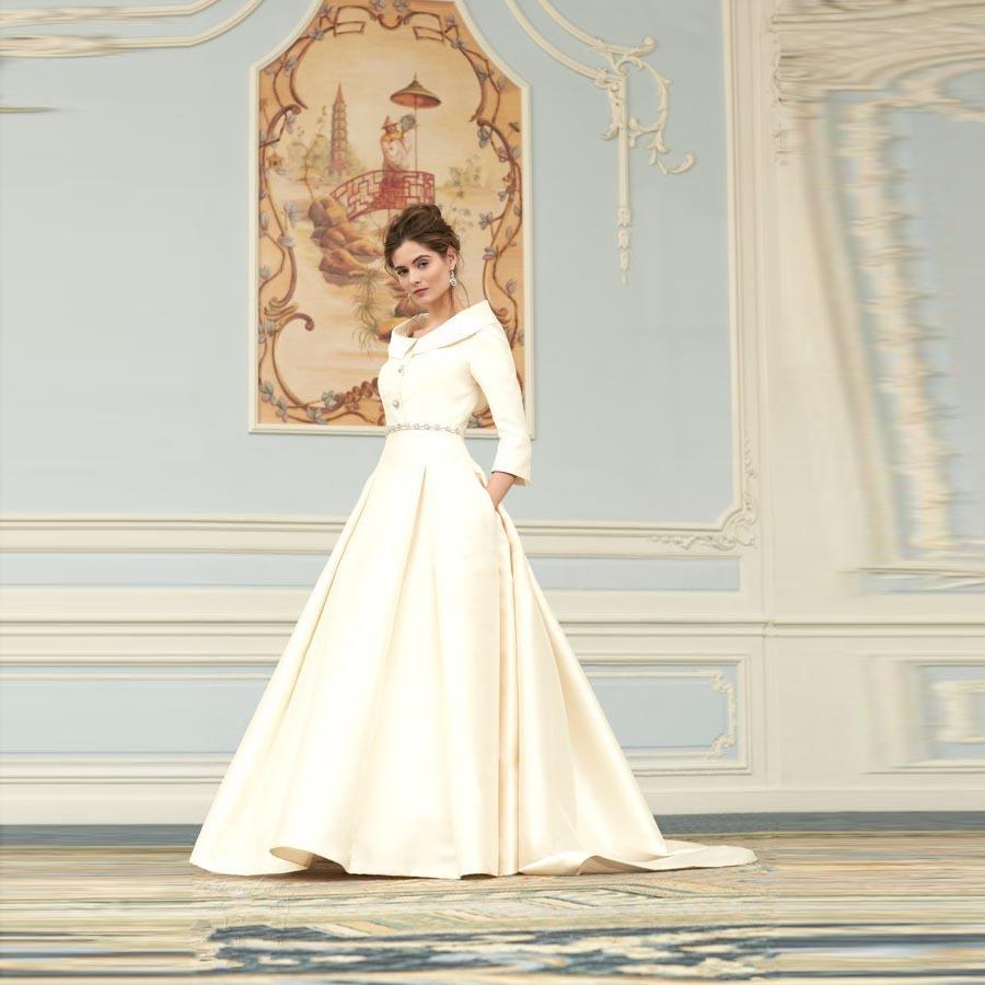 Vintage Three Quarter Length Wedding Dresses: Vintage Elegant Wedding Dress Scoop Three Quarter Sleeve A