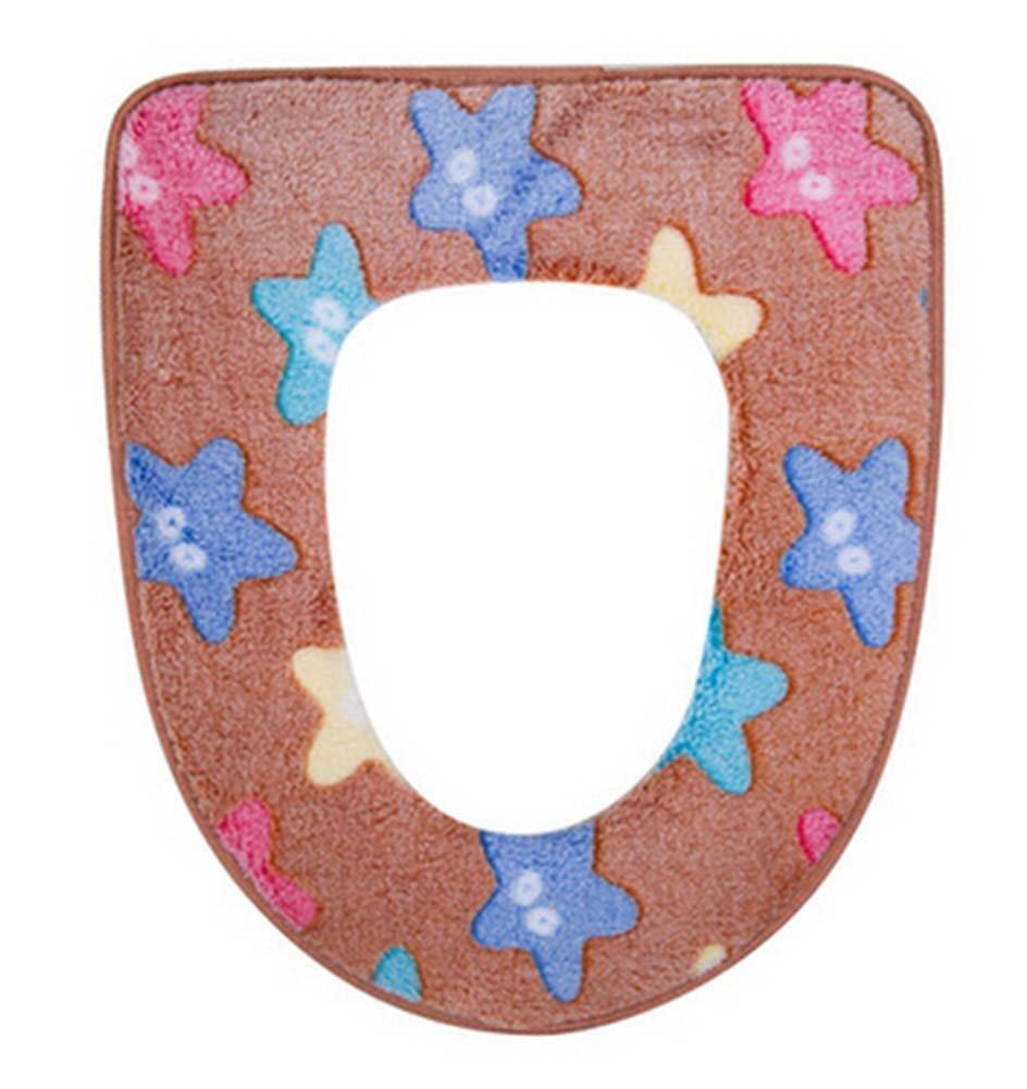 Panda Superstore 2 Pcs Starfish Pattern Plush Toilet Seat Toilet Cushion Toilet Mat