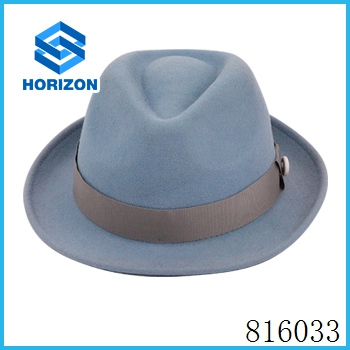 Fashion wholesale steampunk wool felt hat in slash plain dyed characte for unisex style hat cap