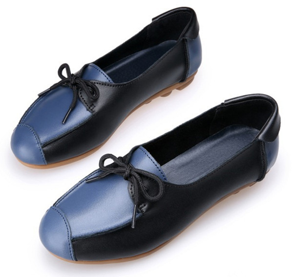 2015 New Brand Women Flat Shoes Woman Mixed Colors Genuine Leather Loafers Fashion Soft Slip-on Shoes for Womens Flats Casual