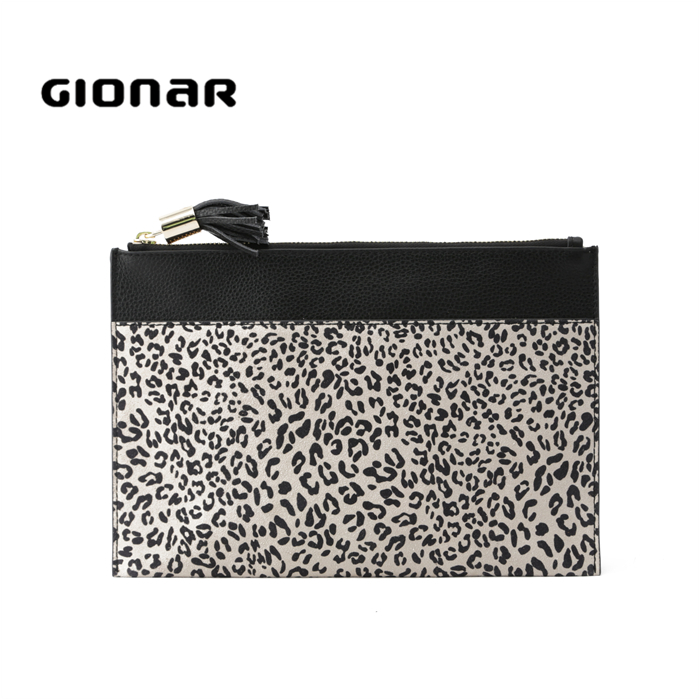 2018 Fashion Designer Latest Women <strong>Grain</strong> and Suede Leather Clutch Purse