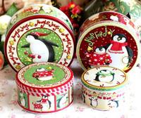 christmas gift printed round metal tin box set,metal tea box